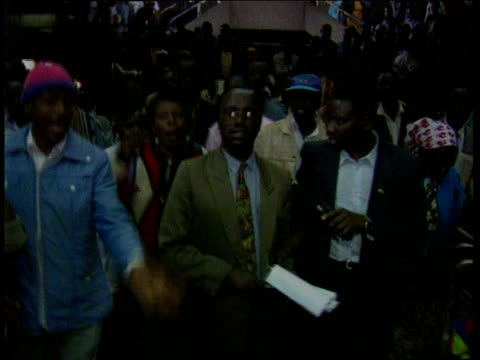 presidential election itn supporters of opposition party celebrating victory against party of president daniel arap moi in their constituency... - daniel arap moi stock videos & royalty-free footage