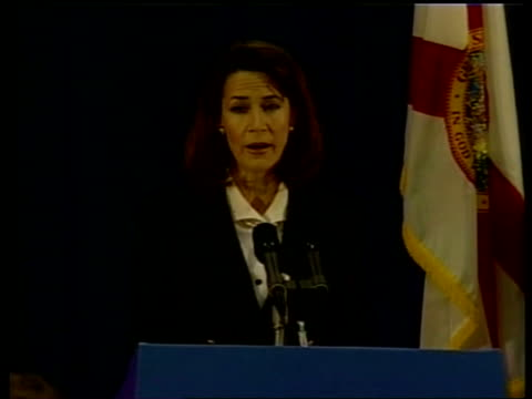 presidential elections gore /bush statements and legal moves pool katherine harris press conference sot will not allow recount tallies to be added to... - florida us state stock videos and b-roll footage