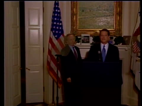 presidential elections gore /bush statements and legal moves pool washington int vicepresident al gore into room with vicepresidential candidate joe... - gore stock videos and b-roll footage
