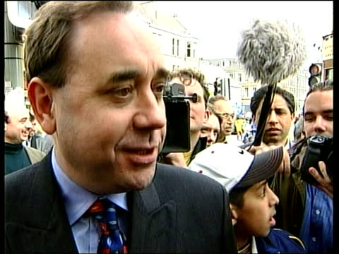 Scottish Elections SNP Drop in the Polls ITN SCOTLAND Glasgow Alex Salmond MP towards on campaign trail BMS Salmond along to shake with constituents...