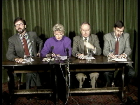 politics sinn fein broadcasting ban 1st anniversary 181089 northern ireland belfast gerry adams mp sinn fein ldr at pkf - sinn fein stock videos & royalty-free footage