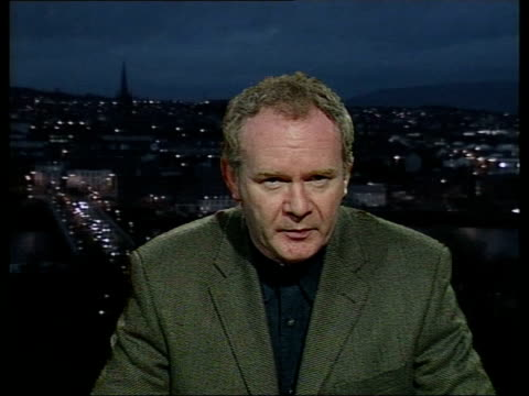 politics: sinn fein official held for spying; itn northern ireland: belfast: int martin mcguinness mla interview sot - i believe denis donaldson has... - politics and government stock videos & royalty-free footage