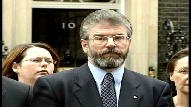 politics stormont crisis talks continue england london downing street ext gerry adams mla statement to press sot we also put strongly our view that... - stormont stock videos and b-roll footage
