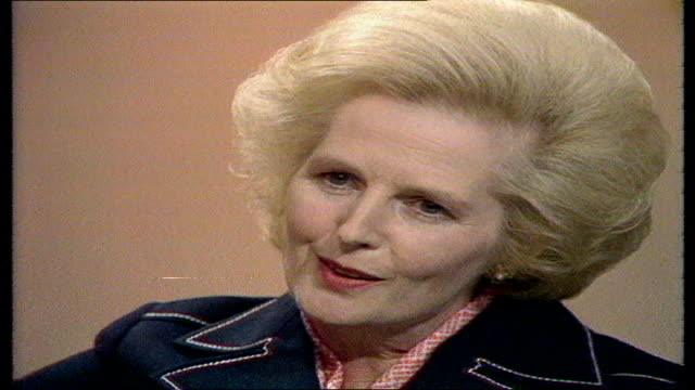 thatcher interview; england, london itn studio margaret thatcher sof - well, i think it's inevitable.... do about them. questions: 1. do you support... - unemployment stock videos & royalty-free footage