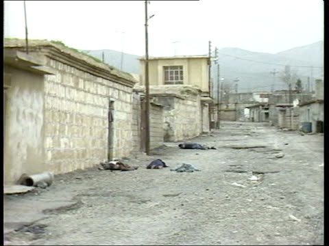 government dossier published dossier reaction lib = for reuse refer to senior management border halabja ext air view destroyed buildings in village... - file stock videos & royalty-free footage