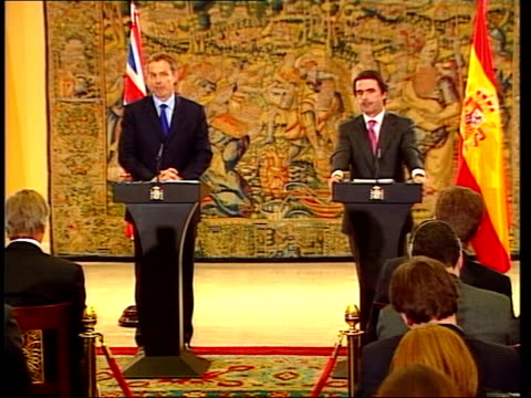tony blair calls for european unity; pool spain: madrid: int tony blair mp speech sot i believe this is an important moment for us all - it is a test... - weapons of mass destruction stock videos & royalty-free footage