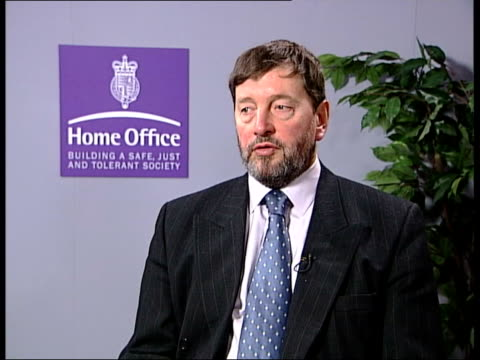 refugees/asylum seekers blunkett proposes citizenshiop test london home office david blunkett mp interview sot talks of coherence of new policy - office politics stock videos & royalty-free footage