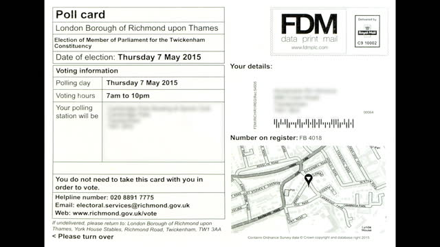 poll card for richmond upon thames with personal details blurred and postal poll cards for north east hampshire constituency on may 1 2015 in london... - richmond upon thames stock-videos und b-roll-filmmaterial