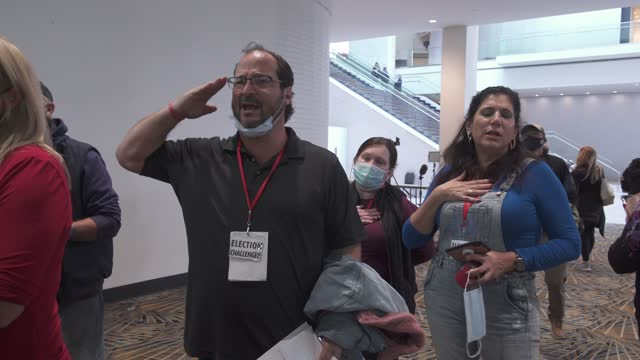poll observers shout out the pledge of allegiance after they were unable to enter the ballot counting room on november 4, 2020 in detroit, michigan.... - pledge of allegiance stock videos & royalty-free footage