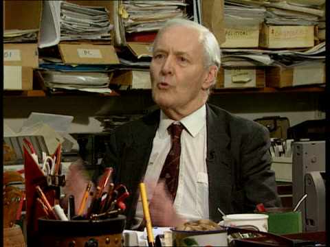 vídeos de stock, filmes e b-roll de poll on uk attitudes towards the eu int unknown location 1975 no campaign intvwd sot the referendum was very unbalanced / the party leaders the... - tony benn