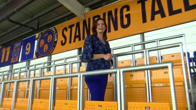 poll shows fans in favour of return of standing on the terraces england shropshire shrewsbury new meadow stadium ext reporter to camera 'rail... - クイーンズ パーク レンジャーズfc点の映像素材/bロール