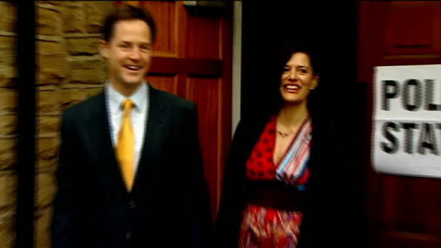 stockvideo's en b-roll-footage met polling day: nick clegg at polling station; england: west yorkshire: sheffield: bents green methodist church: ext nick clegg mp along with his wife... - omgeven