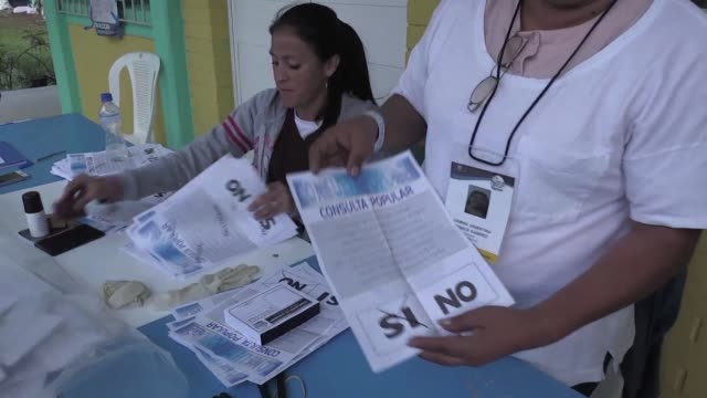 polling stations close in guatemala city after the country voted on whether to send a long running border dispute with neighboring belize to the... - international court of justice stock videos and b-roll footage