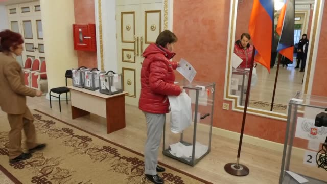 polling stations open in rebel held areas of eastern ukraine and people cast their votes in donetsk as kremlin backed separatists choose their new... - sabotage stock videos & royalty-free footage