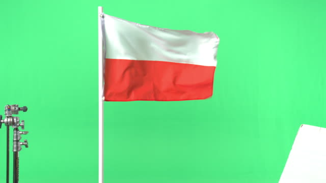 Pollish flag on green screen