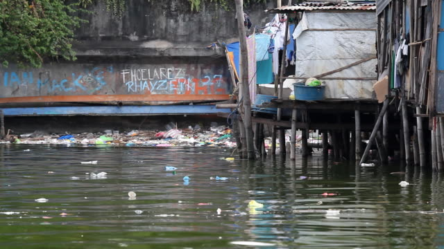 hd polluted river in asia - philippines stock videos & royalty-free footage