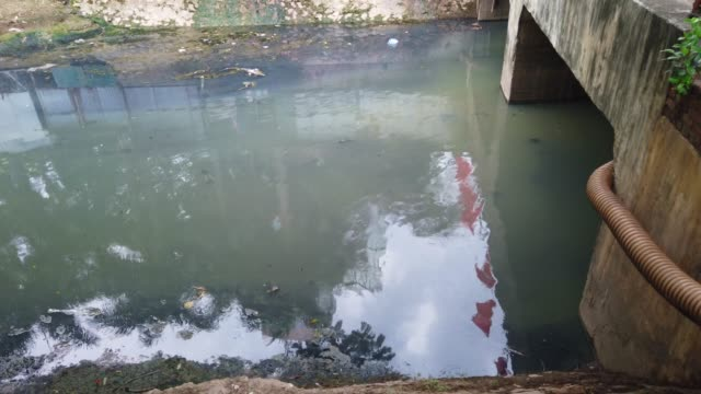 pollution drain beside house at hanoi - demobilisation stock videos & royalty-free footage