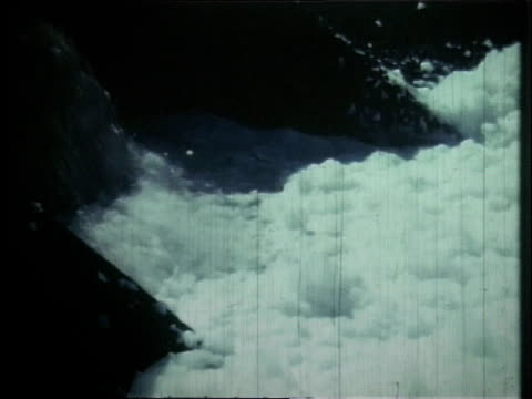 1966 montage pollution flowing into the cuyahoga river / ohio, united states - fiume cuyahoga video stock e b–roll