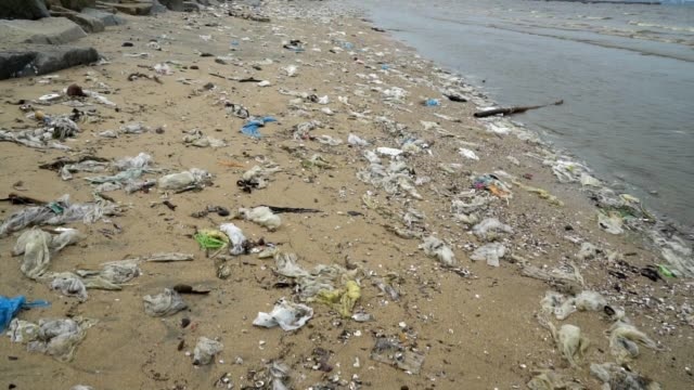 vídeos de stock, filmes e b-roll de poluição: lixo, plástico e resíduos na praia - ilha