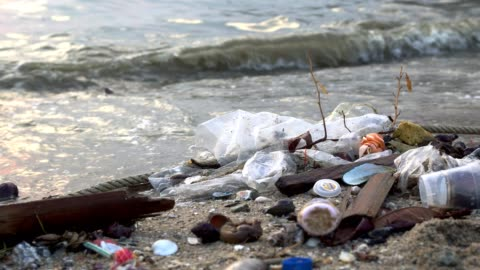 pollution on the beach of tropical sea - plastic bag stock videos & royalty-free footage