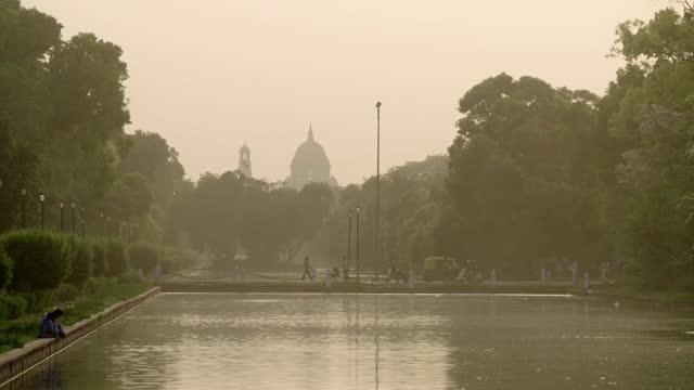 pollution over delhi skyline - india politics stock videos & royalty-free footage