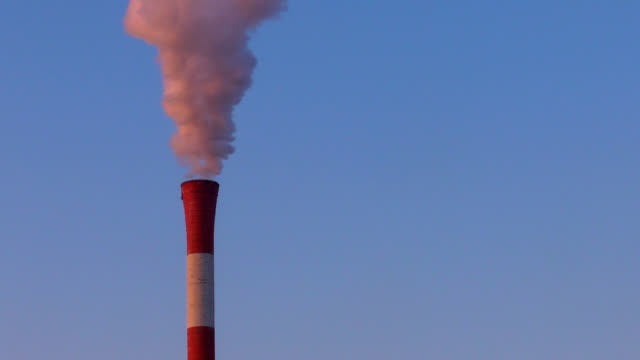 pollution smoke from heating plant chimney - carbon monoxide stock videos & royalty-free footage