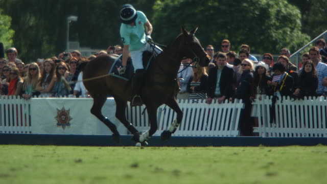 MS SLO MO TS Polo ball missed by player / Manchester, United Kingdom