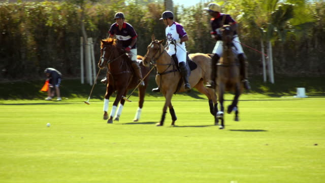 LS SLO MO polo players chasing ball as player rides his horse alongside in order to move an opponent away from the ball or to take him out of a play but opponent manages to strike the ball which flies forward  / Indio, California, USA
