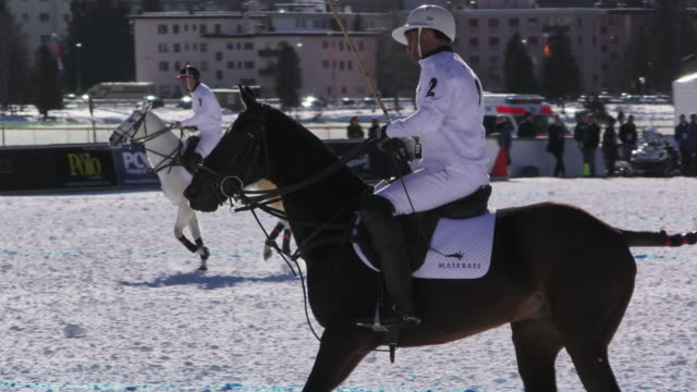 Polo players during a polo match at the Winter Polo World Cup on January 29 2016 in St Moritz