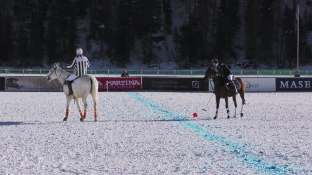 Polo players during a polo match at the Winter Polo World Cup on January 29 2016 in St Moritz NO