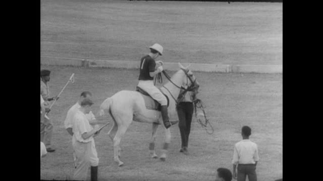 polo players milling about with their horses / young prince charles speaking with players / gets on horse / prince charles plays in the polo match /... - documentary footage stock videos & royalty-free footage