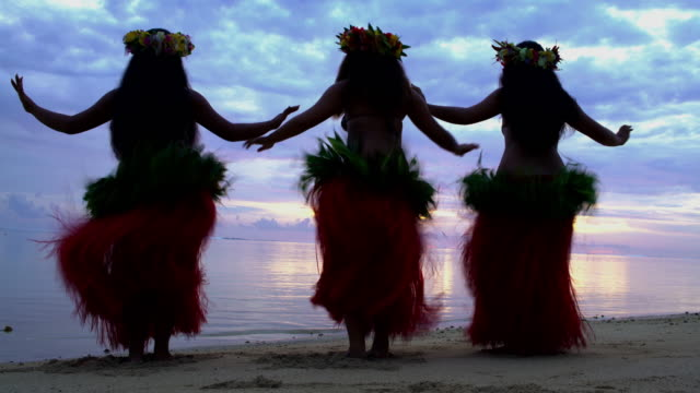 vídeos de stock e filmes b-roll de polynesian girls in grass skirts and flower headdress - cultura polinésia