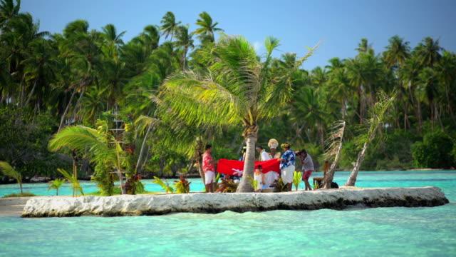polynesian island wedding ceremony french polynesia south pacific - polynesian ethnicity stock videos & royalty-free footage