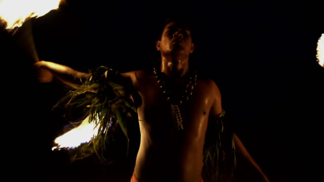 polynesian male dancer performing art of fire dancing - polynesian culture stock videos & royalty-free footage