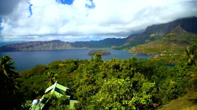 polynesian paradise atuona hiva oa ocean bay marquesas - south pacific ocean stock-videos und b-roll-filmmaterial