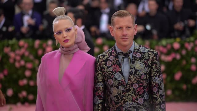 pom klementieff, paul andrew and hero fiennes-tiffin at the 2019 met gala celebrating camp: notes on fashion - arrivals at metropolitan museum of art... - heroes stock videos & royalty-free footage