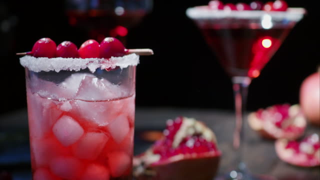 pomegranate cranberry cocktail - cocktail stock videos & royalty-free footage