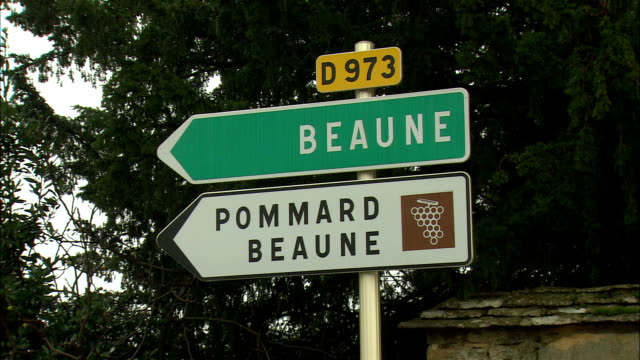 ms pommard beaune directional sign / burgundy, france - directional sign stock videos & royalty-free footage
