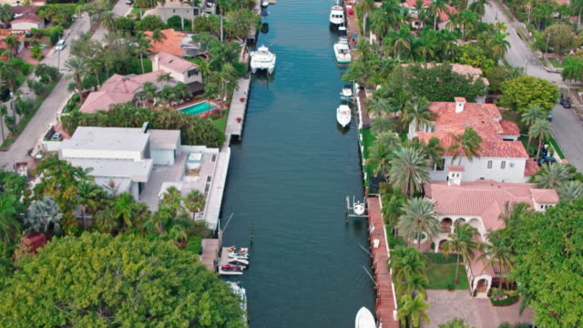 pompano beach and fort lauderdale florida aerial - canal stock videos & royalty-free footage