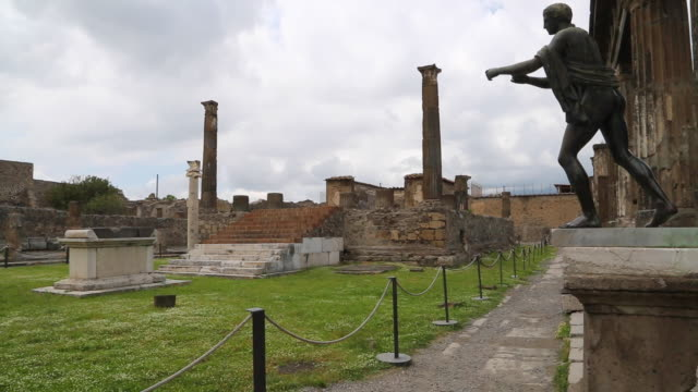 pompeii, temple of apollo in the roman forum of the ancient city. - roman stock videos and b-roll footage