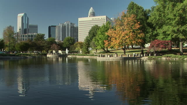 ws, pond in marshall park with office buildings in background, charlotte, north carolina, usa - charlotte north carolina stock videos & royalty-free footage