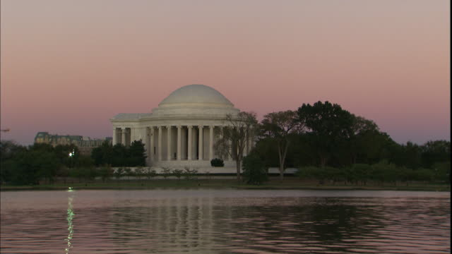 A pond ripples gently in front of the Jefferson Memorial in Washington D.C..