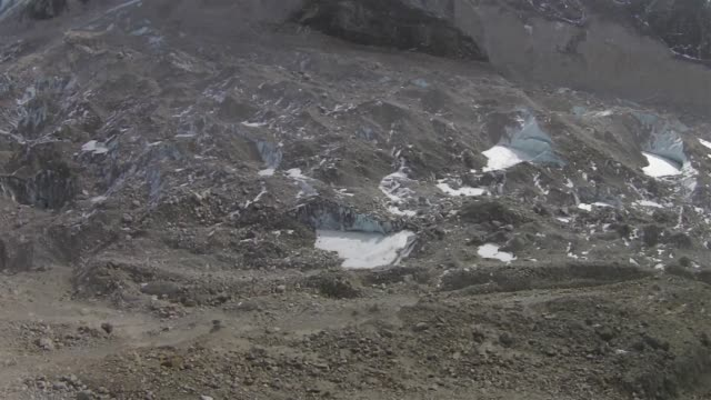 ponds of melt water, frozen in cold winter temperatures, can be see on the surface of the khumbu glacier, near the base of mount everest and everest... - base camp stock videos & royalty-free footage