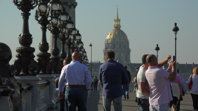 pont alexandre iii and les invalides dome, paris, france, europe - pont alexandre iii stock videos & royalty-free footage