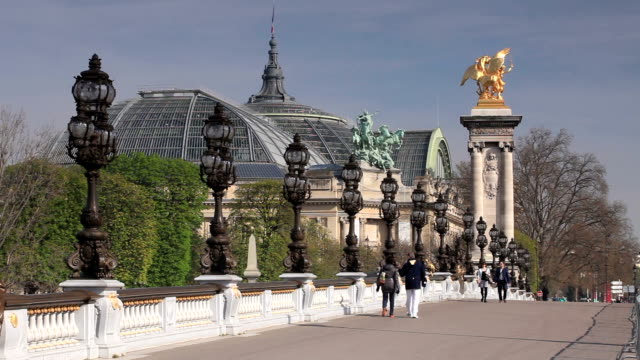 pont alexandre iii and the grand palais, paris, france. - pont alexandre iii stock videos & royalty-free footage