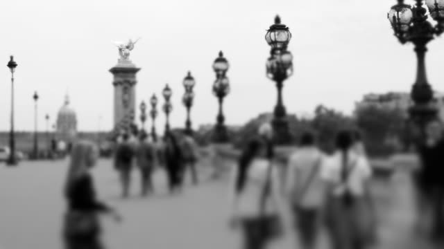 pont alexandre iii with tilt shift focus - large group of people stock videos & royalty-free footage