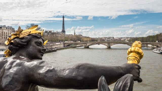 Pont Alexandre III with view on tour Eiffel, 4K time lapse