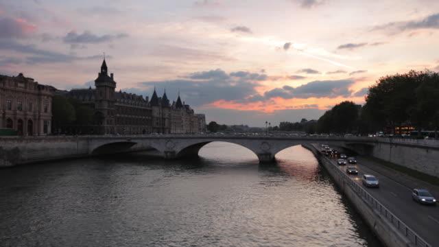t/l ws pont au change of palais de justice and conciergerie, paris, france - seine river stock videos and b-roll footage