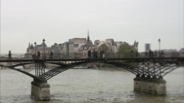 MS SELECTIVE FOCUS Pont des Arts on river Seine, Paris, France