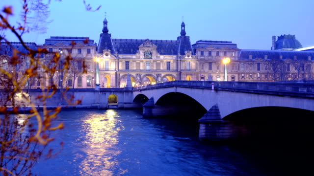 pont du carrousel on river seine - louvre stock videos and b-roll footage